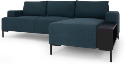 An Image of MADE Essentials Oskar Right Hand Facing Chaise End With Table, Aegean Blue