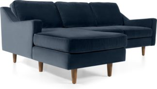 An Image of Dallas Left Hand Facing Chaise End Corner Sofa, Navy Cotton Velvet