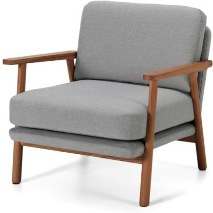 An Image of Lars Accent Chair, Mountain Grey and Walnut Stain