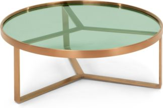 An Image of Aula Coffee Table, Brushed Copper and Green Glass