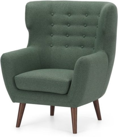 An Image of Kubrick Wing Back Chair, Darby Green with Dark Stain Leg