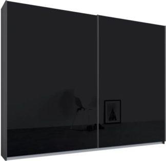 An Image of Malix 2 door 225cm Sliding Wardrobe, Graphite Grey frame,Basalt Grey Glass doors, Standard Interior