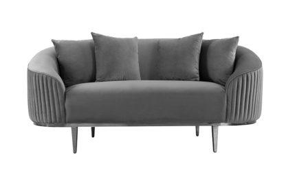 An Image of Ella Two Seat Sofa - Dove Grey - Polished chrome base