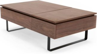An Image of Flippa Functional Coffee Table with Storage, Walnut