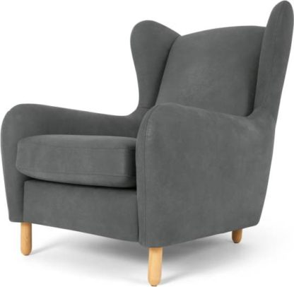 An Image of Rubens Wingback Armchair, Pavillion Grey Leather