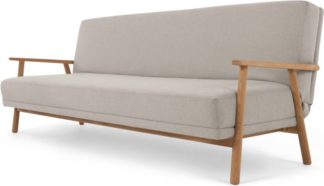 An Image of Lars Click Clack Sofa Bed, Salcombe Beige and Oak Frame