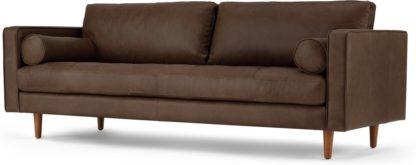 An Image of Scott 3 Seater Sofa, Charm Mocha Premium Leather