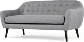 An Image of Ritchie 3 Seater Sofa, Pearl Grey with Rainbow Buttons
