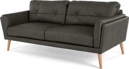 An Image of Sampson 3 Seater Sofa, Liberty Grey Leather