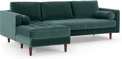 An Image of Scott 4 Seater Left Hand Facing Chaise End Corner Sofa, Petrol Cotton Velvet