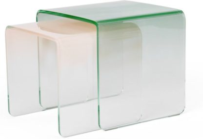 An Image of Hesta Nesting Side Table, Green and Pink