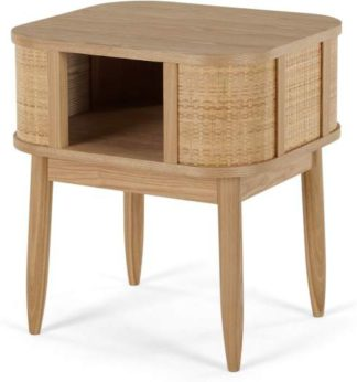 An Image of Liana Bedside Table, Ash & Rattan