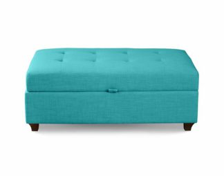 An Image of Leon Upholstered Ottoman - Teal