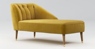 An Image of Custom MADE Margot Right Hand Facing Chaise, Antique Gold Velvet, Light Wood Brass Leg