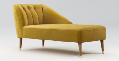 An Image of Custom MADE Margot Right Hand Facing Chaise, Antique Gold Velvet, Light Wood Brass Leg