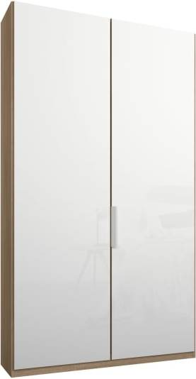 An Image of Caren 2 door 100cm Hinged Wardrobe, Oak Frame, White Glass Doors, Standard Interior