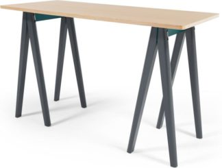 An Image of MADE Essentials Hurst Trestle Desk, Oak and Grey