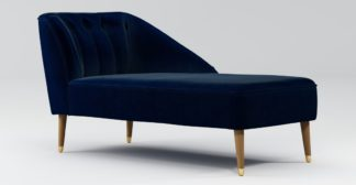 An Image of Custom MADE Margot Right Hand Facing Chaise, Dark Navy Cotton Velvet, Light Wood Brass Leg