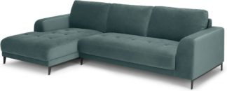 An Image of Luciano Left Hand Facing Chaise End Corner Sofa, Marine Green Velvet