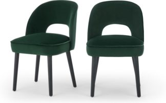 An Image of Set of 2 Rory Dining Chairs, Pine Green Velvet