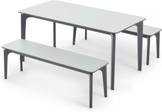 An Image of Buren Rectangle Dining Table and 2 Benches Set, HPL and Ash