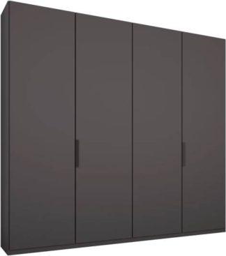 An Image of Caren 4 door 200cm Hinged Wardrobe, Graphite Grey Frame, Matt Graphite Grey Doors, Standard Interior