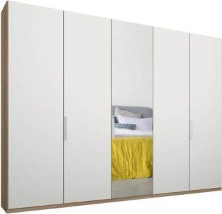 An Image of Caren 5 door 250cm Hinged Wardrobe, Oak Frame, Matt White & Mirror Doors, Standard Interior