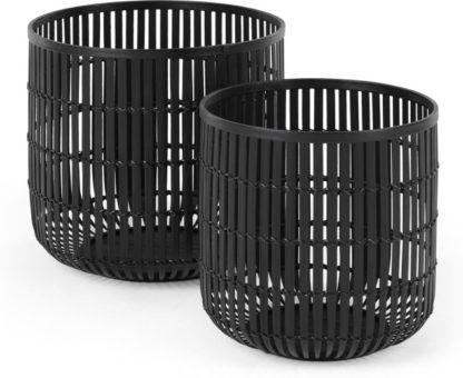 An Image of Kurino Set of 2 Bamboo Storage Baskets, Black