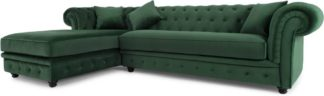 An Image of Branagh Left Hand Facing Chaise End Corner Sofa, Pine Green Velvet