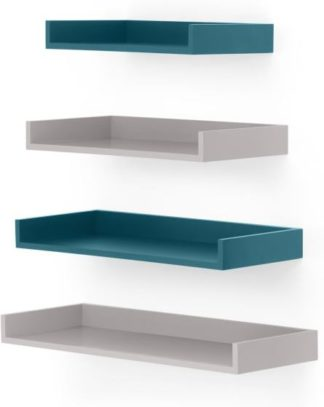 An Image of MADE Essentials Yumi Set of 4 Wall Shelves, Grey and Blue