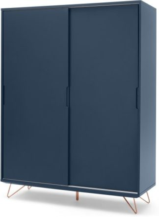 An Image of Elona Sliding Wardrobe, Dark Blue & Copper