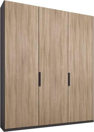 An Image of Caren 3 door 150cm Hinged Wardrobe, Graphite Grey Frame, Oak Doors, Classic Interior