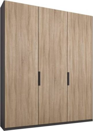 An Image of Caren 3 door 150cm Hinged Wardrobe, Graphite Grey Frame, Oak Doors, Premium Interior