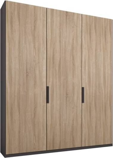 An Image of Caren 3 door 150cm Hinged Wardrobe, Graphite Grey Frame, Oak Doors, Standard Interior