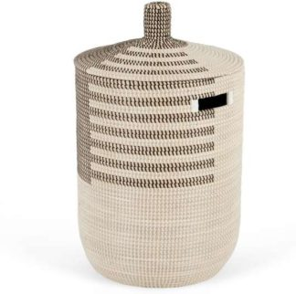 An Image of Havana Seagrass Laundry Basket, Black & White