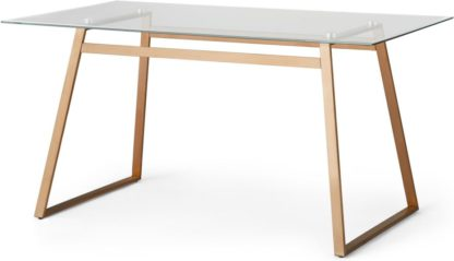 An Image of Haku 6 Seat Dining Table, Copper and Glass