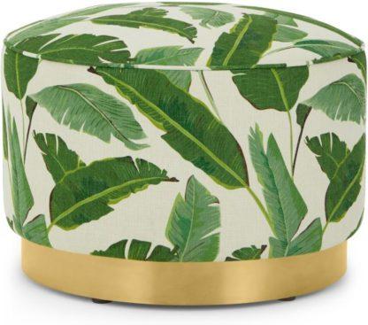 An Image of Hetherington Large Brass Base Pouffe, Leaf Print