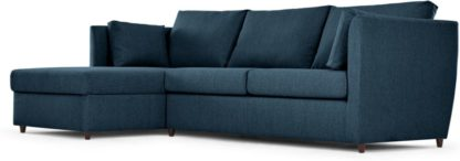 An Image of Milner Left Hand Facing Corner Storage Sofa Bed with Memory Foam Mattress, Arctic Blue