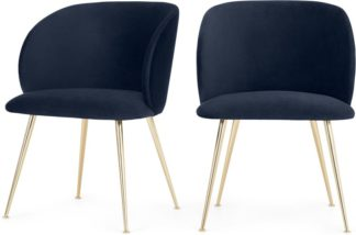 An Image of Set of 2 Adeline Carver Dining Chairs, Royal Blue Velvet and Brass