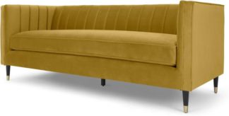 An Image of Evadine 3 Seater Sofa, Vintage Gold Velvet