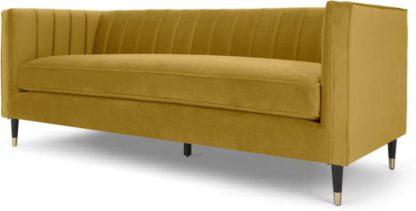 An Image of Evadine 3 Seater Sofa, Vintage Gold Velvet