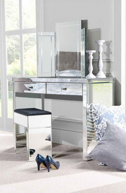 An Image of APHRODITE Mirrored Dressing Table, COLLETA Triple Folding Mirror & Mirrored Stool