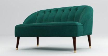 An Image of Custom MADE Margot 2 Seater Sofa, Teal Cotton Velvet with Dark Wood Brass Leg