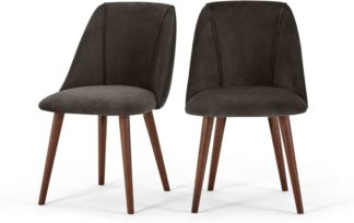 An Image of Set of 2 Lule Dining Chairs, Otter Grey Velvet