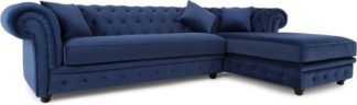 An Image of Branagh Right Hand Facing Chaise End Corner Sofa, Electric Blue Velvet