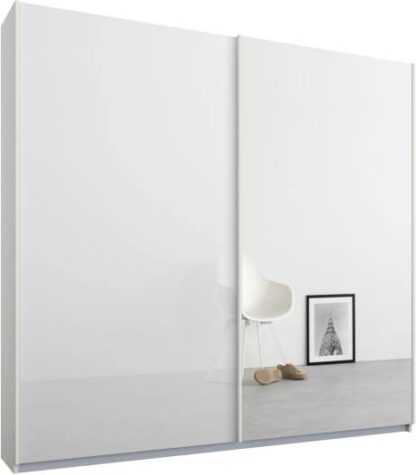 An Image of Malix 2 door 181cm Sliding Wardrobe, White frame,White Glass & Mirror doors, Standard Interior