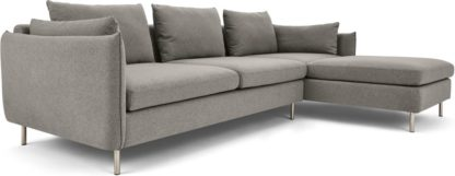 An Image of Vento 3 Seater Right Hand Facing Chaise End Corner Sofa, Manhattan Grey