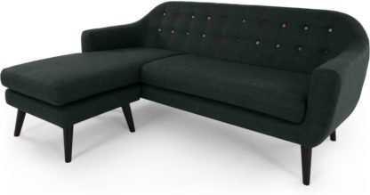 An Image of Ritchie Chaise End Corner Sofa, Anthracite Grey with Rainbow Buttons