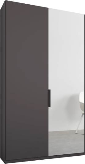 An Image of Caren 2 door 100cm Hinged Wardrobe, Graphite Grey Frame, Matt Graphite Grey & Mirror Doors, Premium Interior