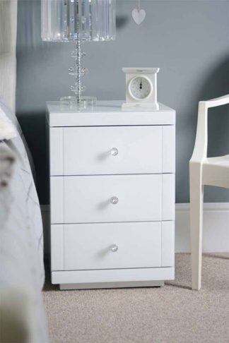 An Image of Pair of LUCIA White Glass Bedside Tables with 3 Drawers